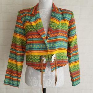 Vintage Southwestern Print Cropped Jacket